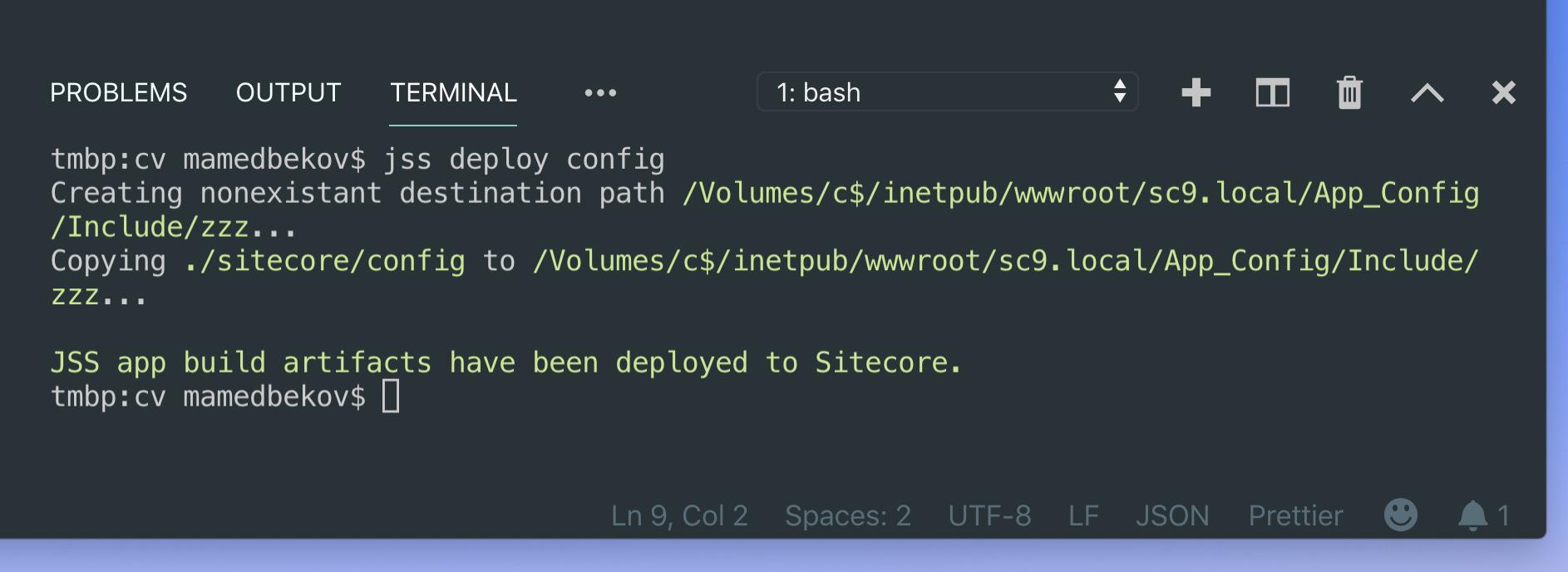 Sitecore JSS deploying configuration
