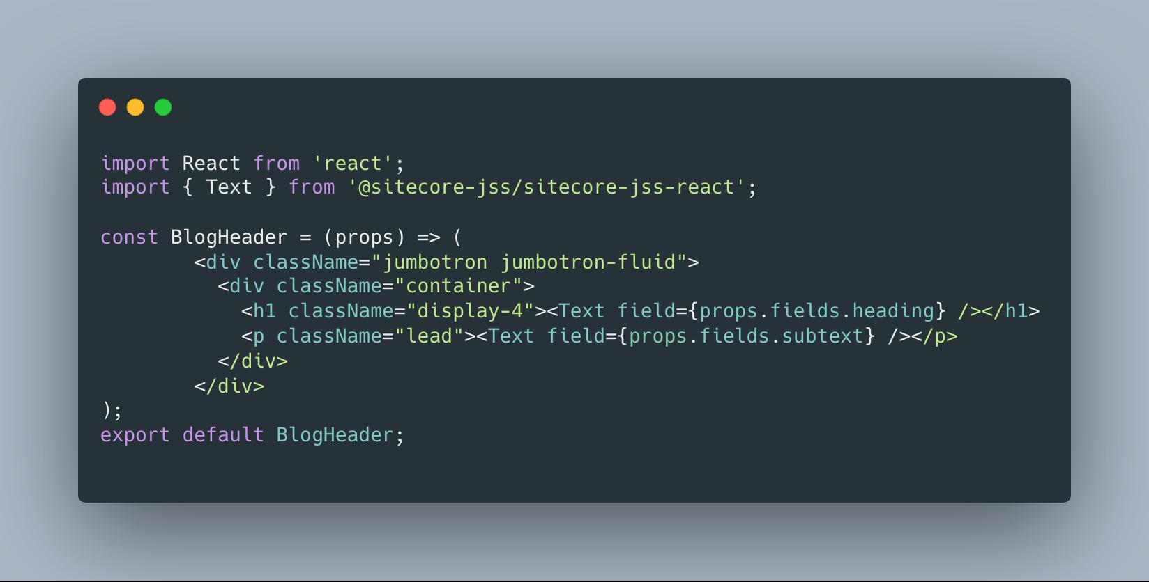 Sitecore JSS BlogHeader Component React Source