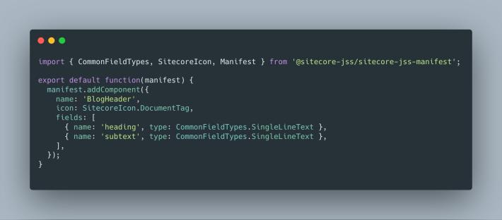 Sitecore JSS BlogHeader Component Definition