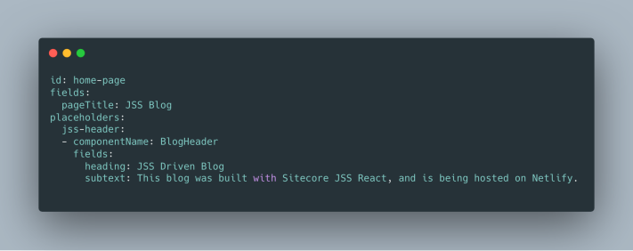 Sitecore JSS BlogHeader Component Data