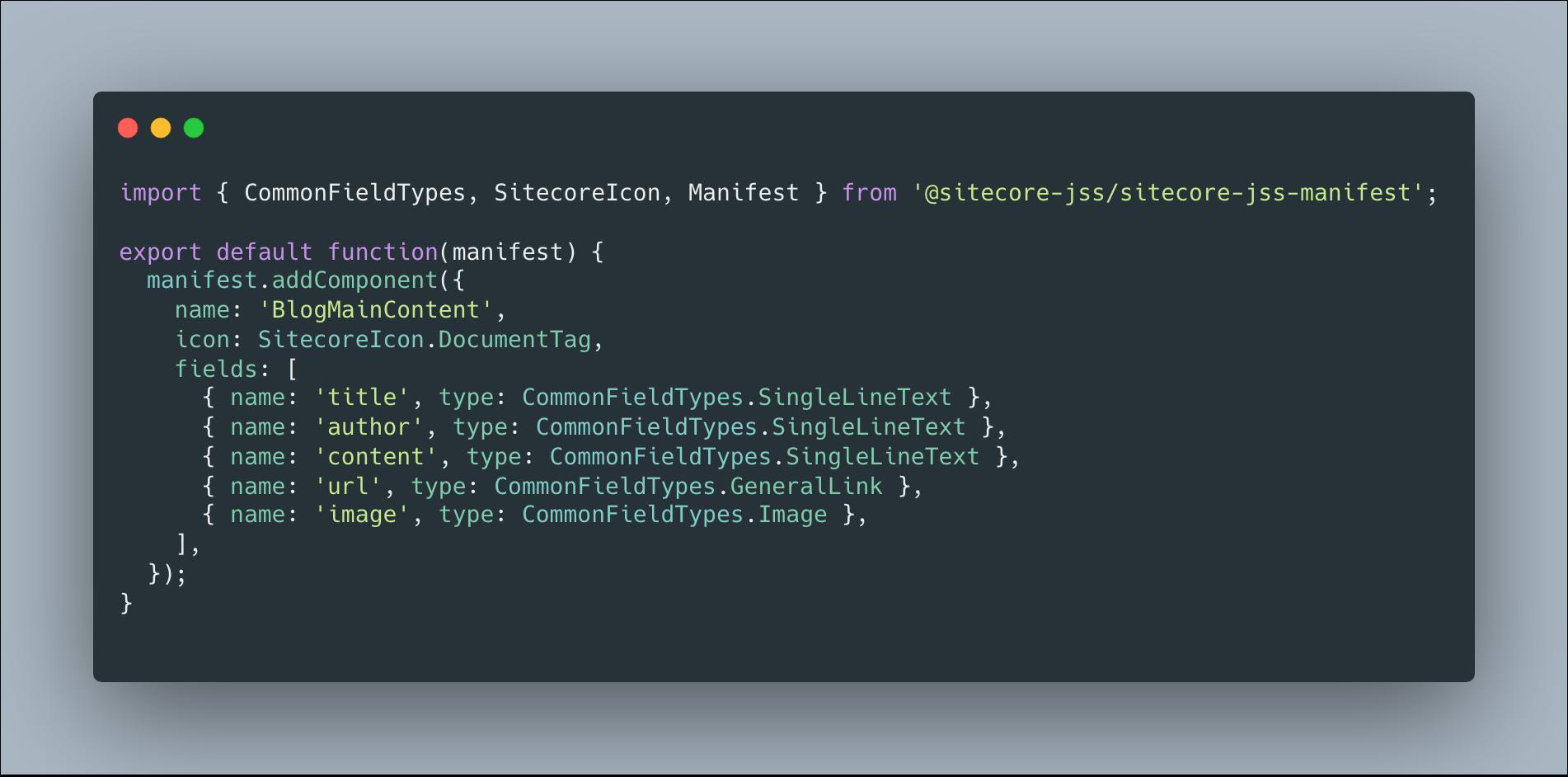 Sitecore JSS BlogMainContent Component Definition
