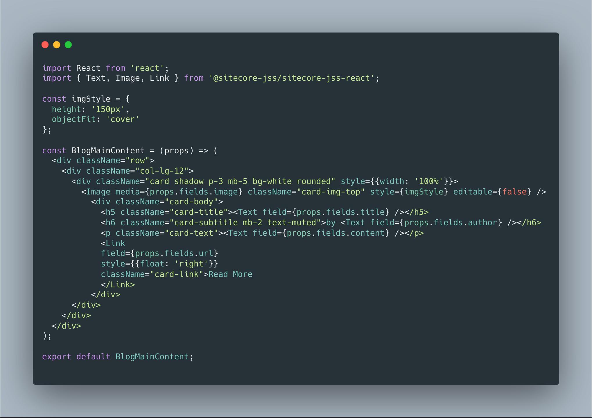 Sitecore JSS BlogMainContent Component Source